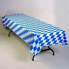 "24 GERMAN OKTOBERFEST 54"" X 108"" PLASTIC TABLECLOTHS~BAVARIAN BLUE DIAMOND"