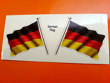 GERMAN GERMANY Flag & Pole Motorcycle Car Bumper Stickers Decals 2 off 60mm