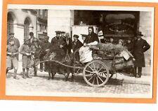 Real Photo Postcard RPPC - Woman on Donkey Cart - Sailors and Pharmacy