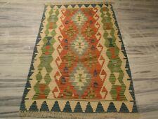 Flat Woven Afghan Vegetable Dye Wool Rug For Living Room 3'6''x5'9'' DN-2106