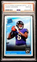 "2018 Lamar Jackson Rookie PSA 10 GEM MINT Donruss Optic #167 ""Flawless"" Ravens"