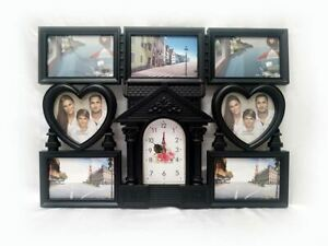 53CM GORGEOUS BLACK 7 PHOTOS FRAME WITH CLOCK HOME DECOR XMAS GIFT
