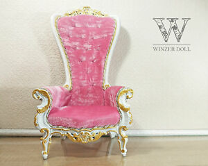 1/4 baroque armchair white & pink, royal throne for doll
