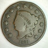 1831 Coronet Large Cent US Copper Type Coin Good Genuine Penny N4 M42 G