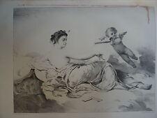 Charles J. CHAPLIN 1825-1891 LITHO ORIGINALE ALLÉGORIE ARCHITECTURE FEMME 1860