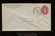 US New England Stationery Advertising Cover (Grinder Co) 1914 Springfield, Vt