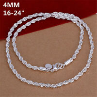 silver 4Mm rope chain necklace jewelry men women lady cute 16-24inch hot wedding