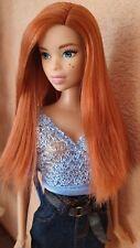 2016 Fashionista Team Glam Barbie Doll HYBRID Red Hair Birth Marks Christie Asha