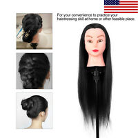 """Mannequin Head Human Hair 24"""" Synthetic Hairdresser Styling Training Doll Clamp"""