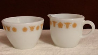 Vintage Pyrex Corning Gold Butterfly Creamer and Sugar Set