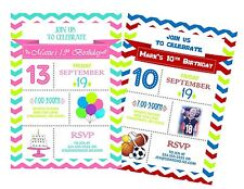 Chevron Birthday Party Invitation - Add Photo - Banner - Any Colors Boy or Girl