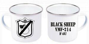 US Marines Fighter Black Sheep VMF-214 F4U Emaille Tasse Kaffeetasse Coffee Mug