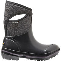 LADIES BOGS PLIMSOLL FLORAL MID BLACK SHORT INSULATED WELLINGTON BOOTS 71543001