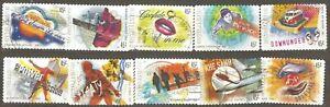 Australia: full set of 10 used stamps, Australian Rock Music, 2001, Mi#2031-40