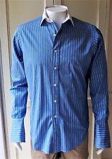 Polo By Ralph Lauren Regent Classic Fit Shirt Blue Striped Cufflink Sleeve