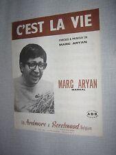 PARTITION MUSICALE BELGE MARC ARYAN C'EST LA VIE