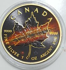 2017 1 Oz Silver APOCALYPSE 2 MAPLE LEAF Coin WITH RUTHENIUM,24K GOLD GILDED.