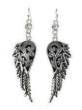 New Angel Wing Silver Tone Rhinestone Earrings Dangle Drop Women Fashion Jewelry