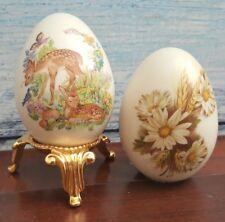 2 Eggzakly Handcrafted Porcelain Eggs Deer & Wheat Flower Vintage Collectors
