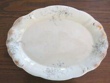 """Vintage Warwick Semi Porcelain 15"""" Oval Platter With Blue Floral Pattern"""