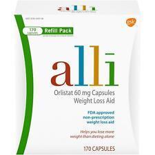 Alli pillole dimagranti per perdita di peso, Orlistat RICARICA Confezione da 170 capsule.