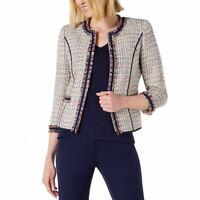 ANNE KLEIN NEW Women's Twill Fringe Cropped Open-front Basic Jacket Top 4 TEDO