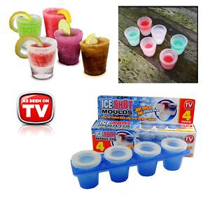 Ice Shot Glasses 4 x Pack  - Plastic Frozen Ice Shot Glass Mould Cube Maker Set