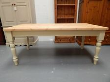 Brand New Painted 7ft Solid Pine Farmhouse Kitchen Dining Table in Cream