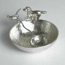 4076 - Pewter Springer Spaniel Bowl with Pheasant Spoon