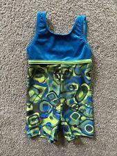 New listing Girls GK Elite Velour Gymnastics Biketard Blue Multi Leotard Size CXS  Child XS