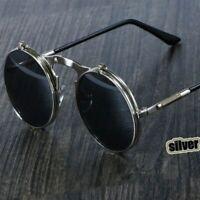Steampunk Sunglasses Flip Circular Double Metal Anti Reflective UV400 Goggles