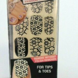 Kiss Nail Dress Strips Tips & Toes Bustier Black Crystal Flowers Buy 2 Get 1