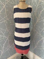 Laura Ashley Lined Linen Striped Shift Dress Size Uk 10