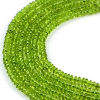 Semi-Precious Green Peridot 5x2mm  Rondelle Gemstone Jewellery Making Beads o...