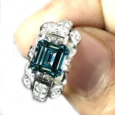 Moissanite .925 Silver Ring 2.44ct VvS1>Gorgeous Blue Green Emerald