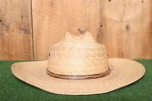 TEXAS HAT COMPANY Genuine Palm Leaf 10X Cowboy Western Hat Sz. 7 5/8