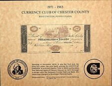 1971 CURRENCY CLUB OF CHESTER COUNTY PA SOUVENIR CARD $20 BANK NOTE MINT