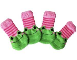 Cute 4 Pet Socks Puppy Dog Cat Indoor Soft Warm Cotton Anti-slip Pink Green Frog