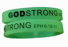 8030009 Set of 3 Adult Glow In The Dark Band Black Print Godstrong Silicone Band