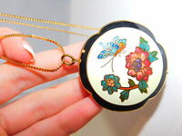 Vintage Cloisonne Enamel Peony Flower Double sided Pendant Gold t Necklace 3a 21