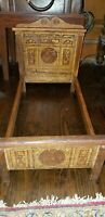 ANTIQUE BLISS ? LITHOGRAPH OVER WOOD VICTORIAN DOLL BED