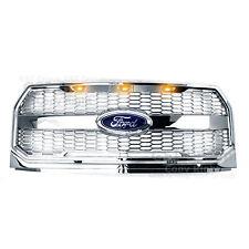15-17 F150 Raptor Conversion Chrome Mesh Grille w/Emblem Housing+Amber LED light
