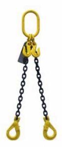 NEW industrial lifting equipment 8mm G80 2 LEG CHAIN SLING X 6 METRE