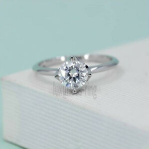 925 Sterling Silver 1.35 Ct Round Colorless Moissanite Solitaire Engagement Ring