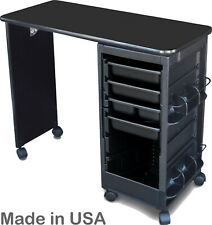 """MANICURE NAIL TABLE STATION B604E ALL BLACK * OPEN"""" MADE IN USA BY DINA MERI"""