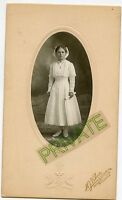 Antique Matted Photo - Older Girl, Cross Necklace - Minn or South Dakota Studio