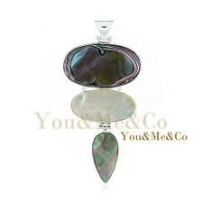 Natural Abalone Mother Of Pearl 925 Sterling Silver Pendant