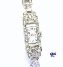 Fabulous Art Deco Platumn & Diamond Ladies Antique Watch Swiss Movement 17 J