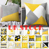 Scandi Boho Geometric Cushion Mustard Yellow and Grey Sofa Case Cover UK Stock