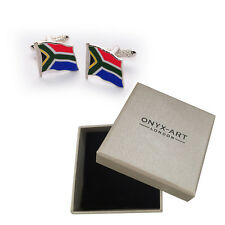 Pair Of South African National Flag Cufflinks & Gift Africa Box by Onyx Art